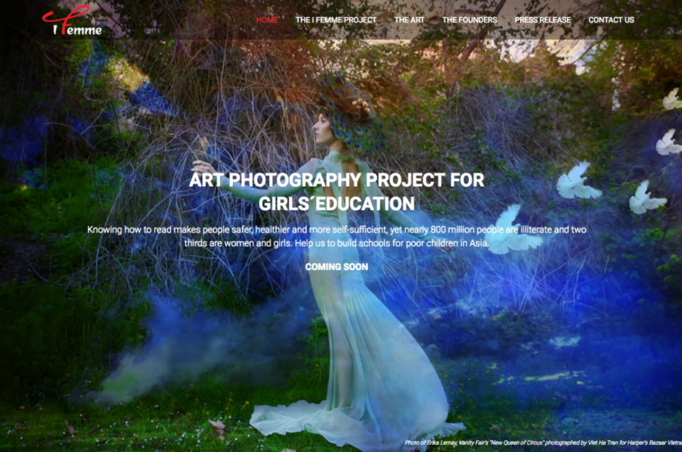 Launch of I Femme website - Art fashion project helps funding schools for children in Asia